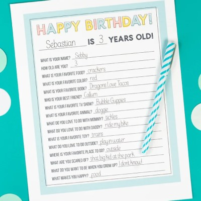 Printable Kids Birthday Questionnaire