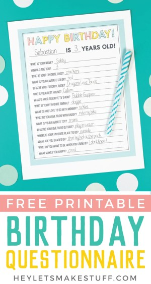 Document all the reasons why your child is special, funny, talented, and adorable every year on their birthday with this printable Birthday Questionnaire! It's a fun birthday tradition to start when your kids are young!
