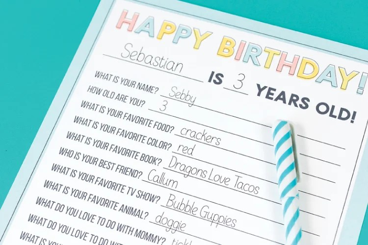 photograph about Happiness Quiz Printable identified as Printable Youngsters Birthday Questionnaire - Hey, Makes it possible for Generate Things