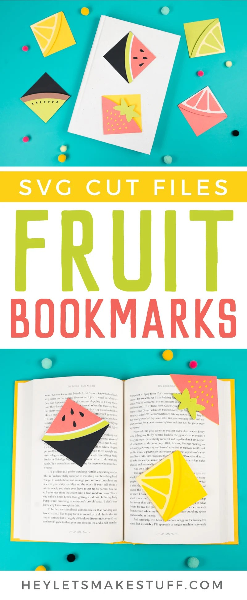 Make these cheerful fruit bookmarks on your Cricut! These DIY bookmarks are perfect for summer, when you're diving into a delicious beach read.  via @heyletsmakestuf