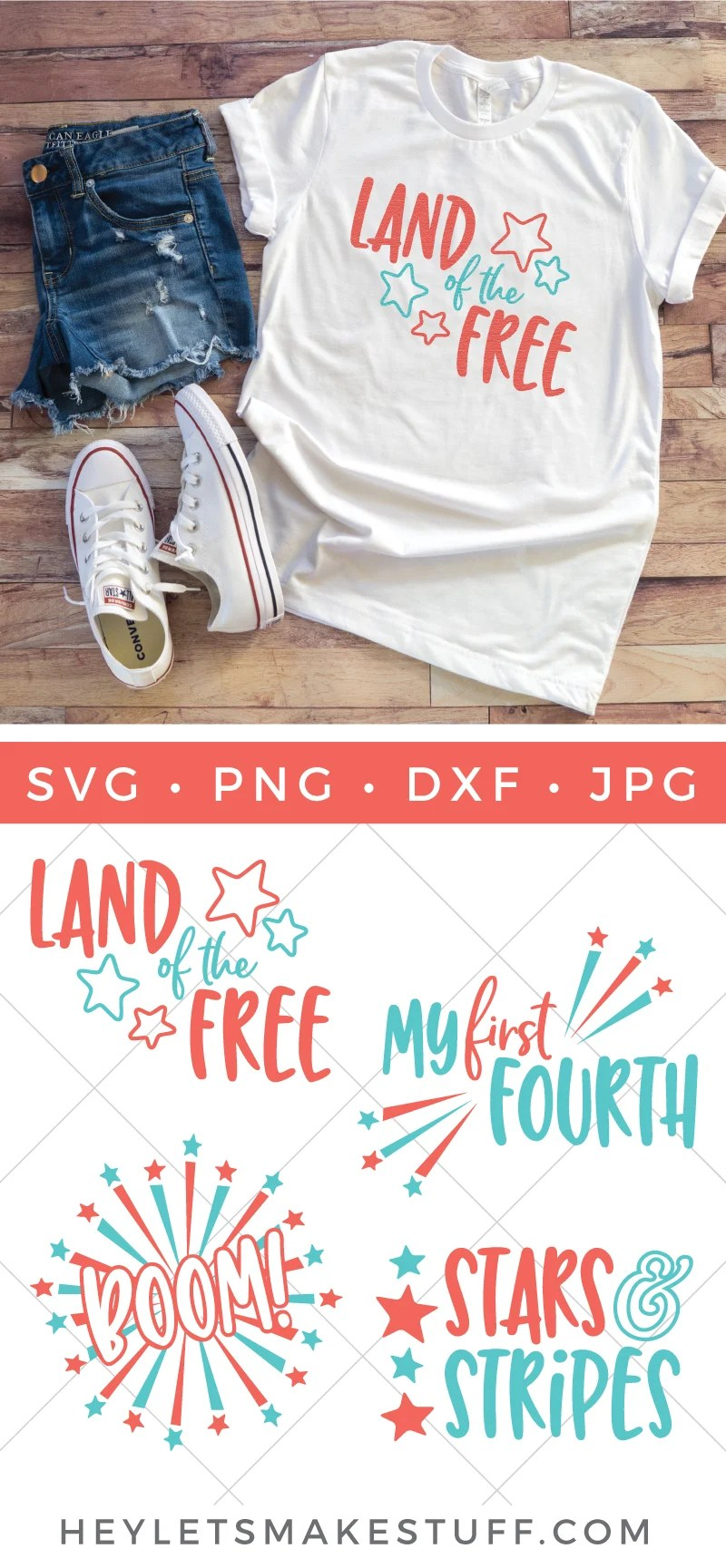 Celebrate the 4th with patriotic crafts and decor. This Fourth of July SVG Bundle has all you need to add some flare of the 4th to your tote bags, water bottles, party decor and much more. via @heyletsmakestuf