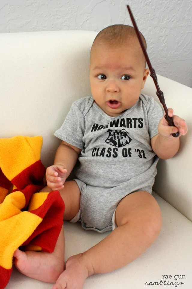Hogwarts Class Onesie | Dress your littles in style with these DIY baby onesies! Your Cricut makes these baby favorites easy to put together—and they are perfect for baby showers and newborn gifts!