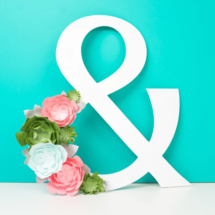 Cricut Chipboard Project - Ampersand with Paper Succulents