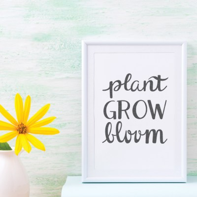 Hand-Lettered Plant Grow Bloom SVG