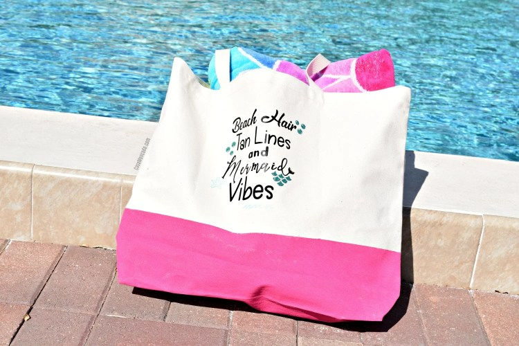 DIY Painted Summer Beach Bag Using The Silhouette Cameo