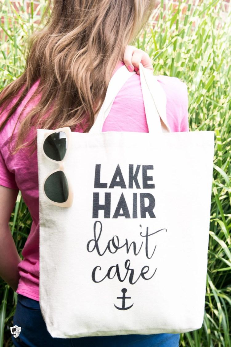 DIY Stenciled Tote Bag Lake Hair Dont Care