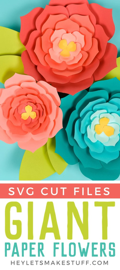 Make these giant paper flowers using my template (hand cut or SVG for the Cricut) and then get my best tips and tricks for making them easily! Perfect for giant paper flower backdrops, beautiful home decor, and festive party decorations.