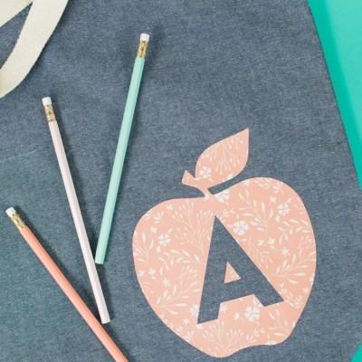 Last Minute Teacher Gift Idea: Apple Tote Bag
