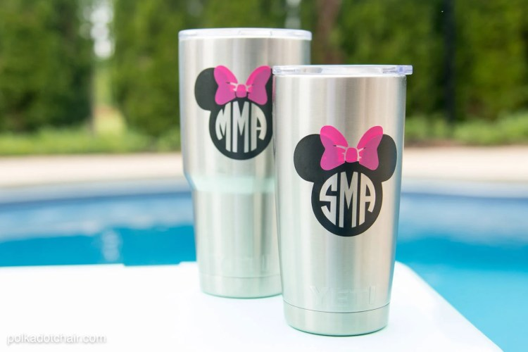 DIY Disney Monogram For A Yeti Tumbler from polkadotchair.com