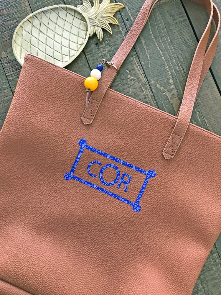 Monogrammed Leather Tote Bag from pineapplepaperco.com