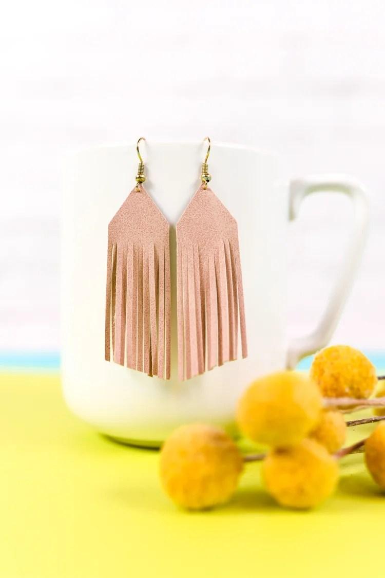 faux suede leaf earrings