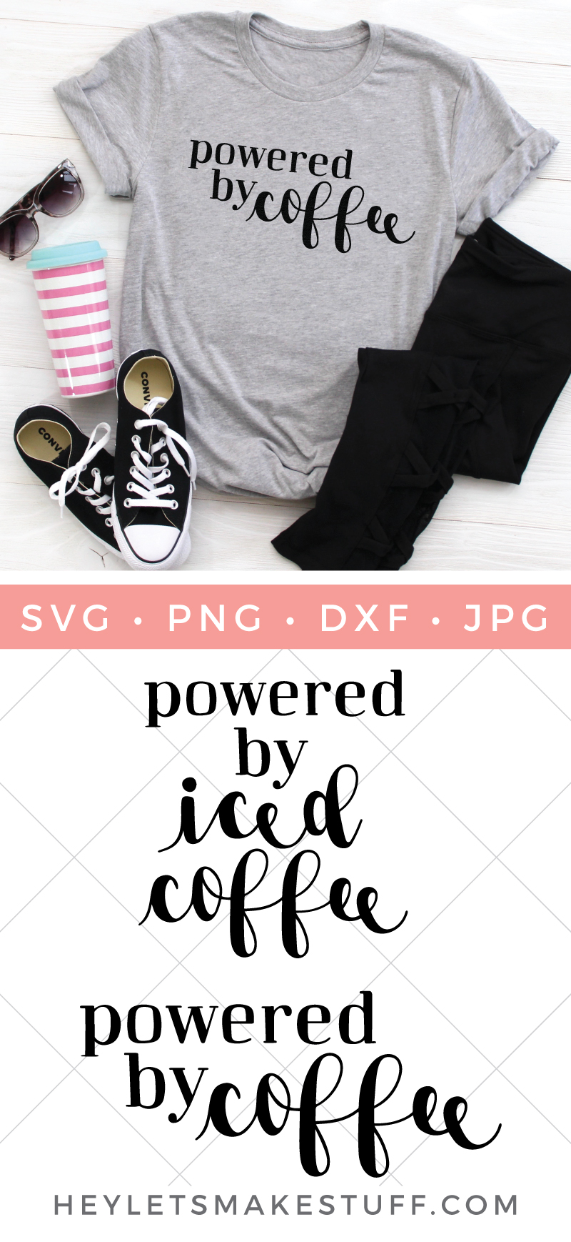 Admit it, where would we be without it? Celebrate your love of all things caffeinatedwith these two coffee SVG files: Powered by Coffee and Powered by Iced Coffee! via @heyletsmakestuf