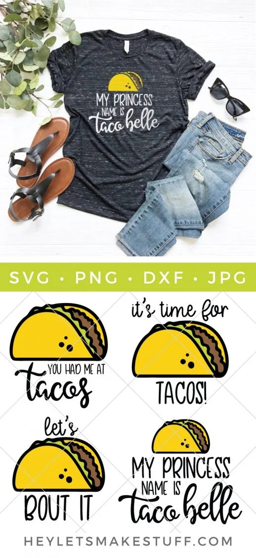 It's taco time! Download this delicious taco SVG bundle to make all sorts of projects: t-shirts, tote bags, Cinco de Mayo party decor, and more!