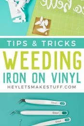 Frustrated weeding iron on vinyl for projects made using your Cricut or other cutting machine? Here are tips and tricks to make weeding HTV easier!