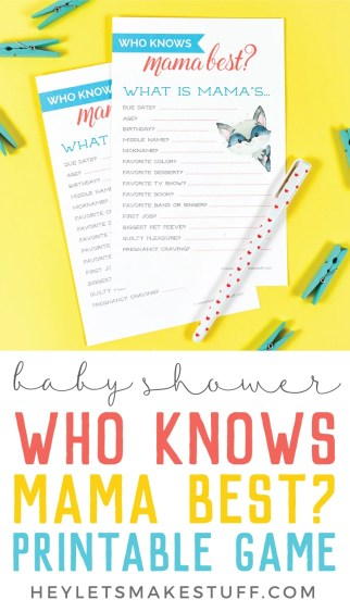 Test friends and family's knowledge of YOU with this free printable baby shower game and see who knows mommy best!