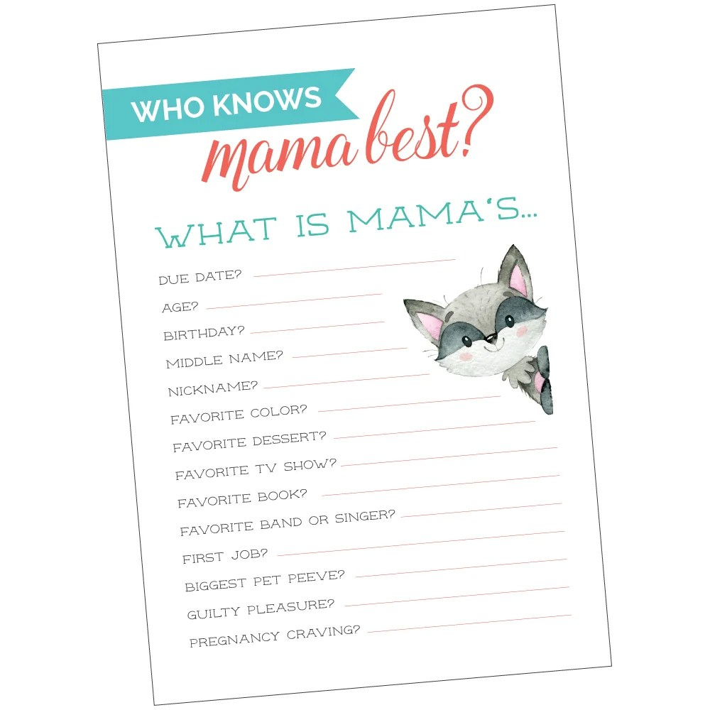 picture about Who Knows Mommy Best Printable titled Who Is familiar with Mama Perfect? A Free of charge Printable Kid Shower Activity!