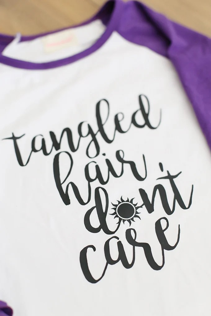 DIY 'Tangled Hair Don't Care' Shirt from seevanessacraft.com