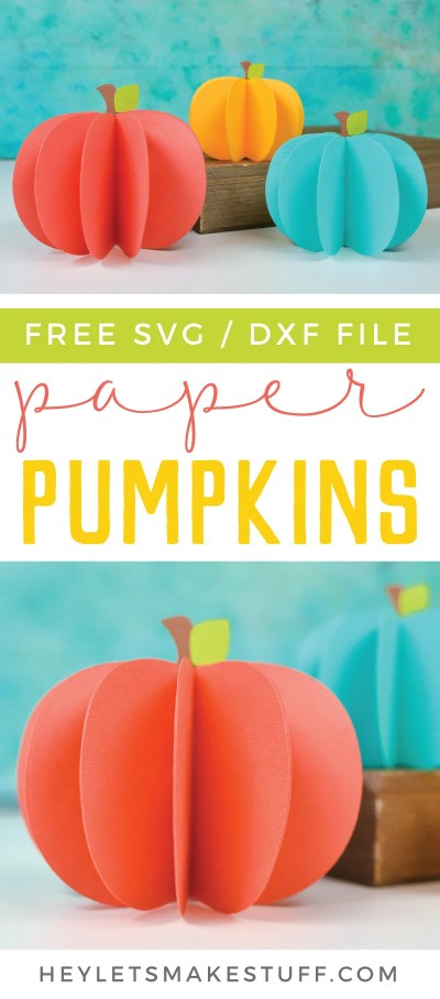 Everyone loves pumpkin decor! These 3D paper pumpkins are perfect for both Halloween and fall decorating! Make them using your Cricut and this free pumpkin SVG file!