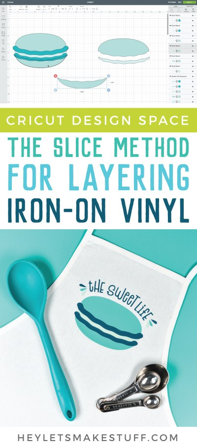 There are several methods you can use for layering iron-on vinyl. This is how to do it using the Slice tool in Cricut Design Space!