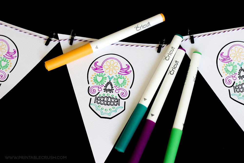 Sugar Skull Coloring Banner