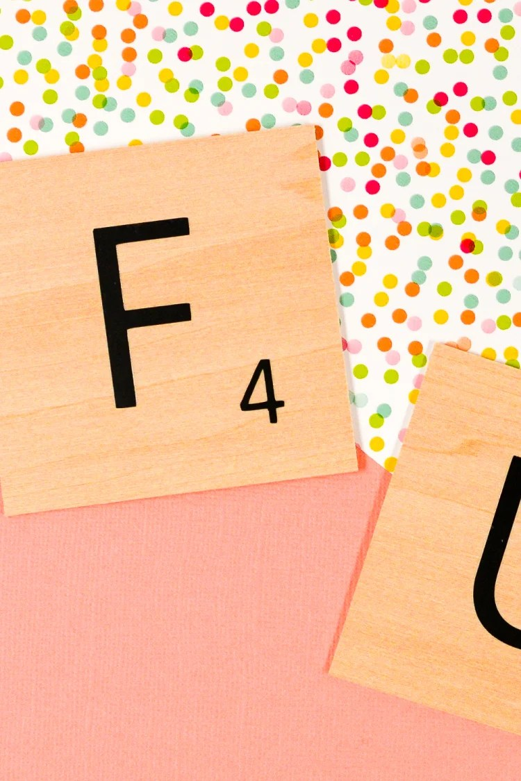 DIY Scrabble Words with Your Cricut - Free SVG! - Hey, Let's