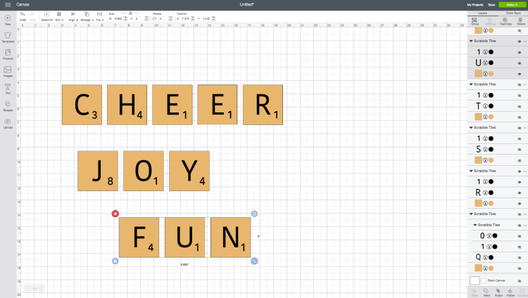 Scrabble Words in Cricut Design Space