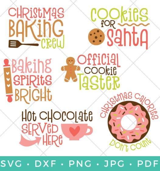 Christmas Baking Bundle - Six Christmas SVG Files