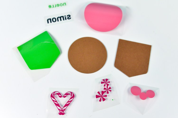 All the pieces needed to make these gift tags