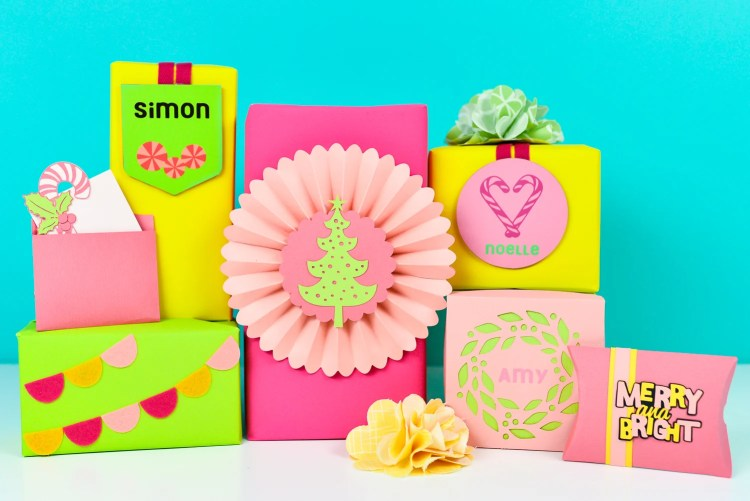 Take your wrapping game to the next level with these neon DIY gift wrap ideas, made using a variety of materials cut on the Cricut Maker! These festive gift wrap ideas are perfect for personalizing everything under the Christmas tree.