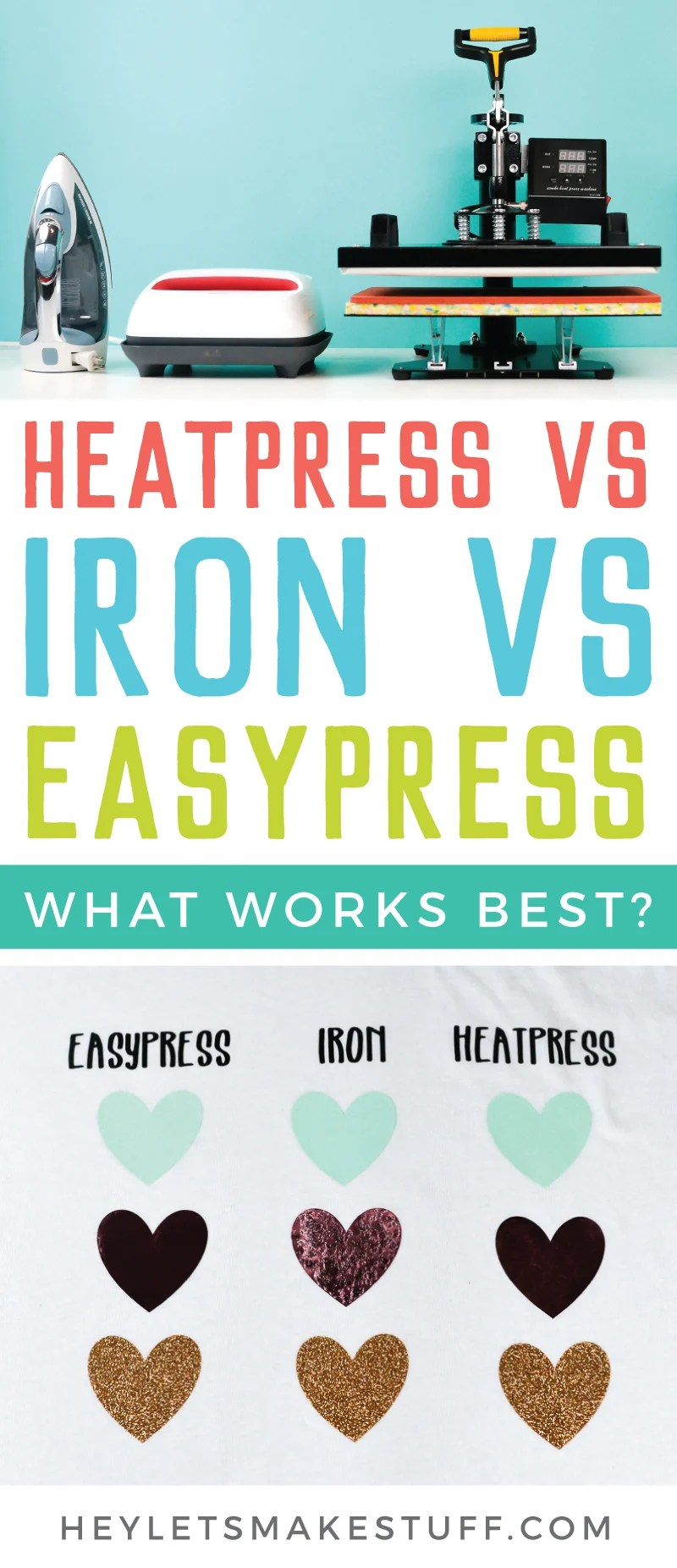 What is the best heat source for using iron on vinyl (HTV)? We put a heat press, a household iron, and the Cricut EasyPress to the test to determine the pros and cons of each to help you make the right decision for your needs! via @heyletsmakestuf