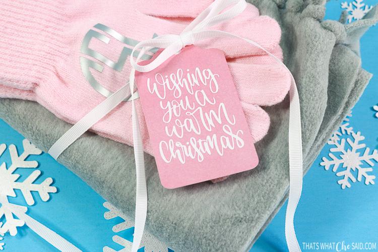 scarf and gloves - Cricut gift idea
