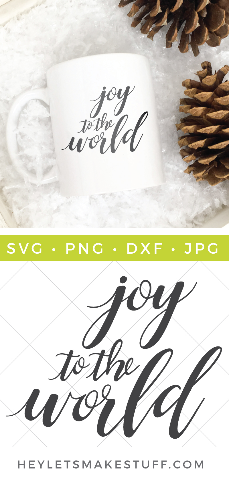 It's the perfect time of year to spread a little JOY to all those near and far! Create totes, shirts, pillows, printables and so much more with this Joy to the World SVG! via @heyletsmakestuf