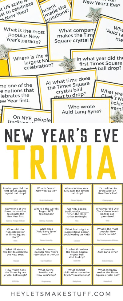 Printable New Year's Eve Trivia