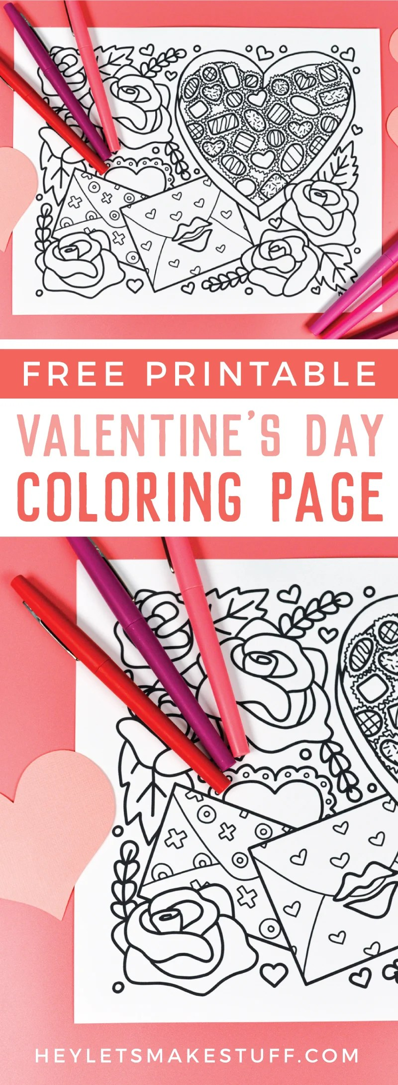 This free printable Valentine's Day coloring page is all about love! A box of chocolates, love letters, and big roses are perfect for all sorts of shades of red and pink. Print it out for free! via @heyletsmakestuf