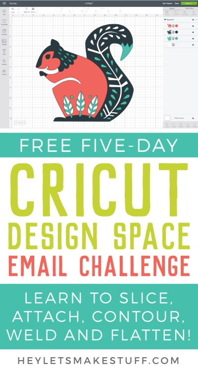 Want to demystify a bit of Cricut Design Space? Join my FREE five-day email challenge! We'll tackle some of the tools users find most confusing—Attach, Weld, Slice, Contour, and Flatten. Come, learn Cricut Design Space with me!
