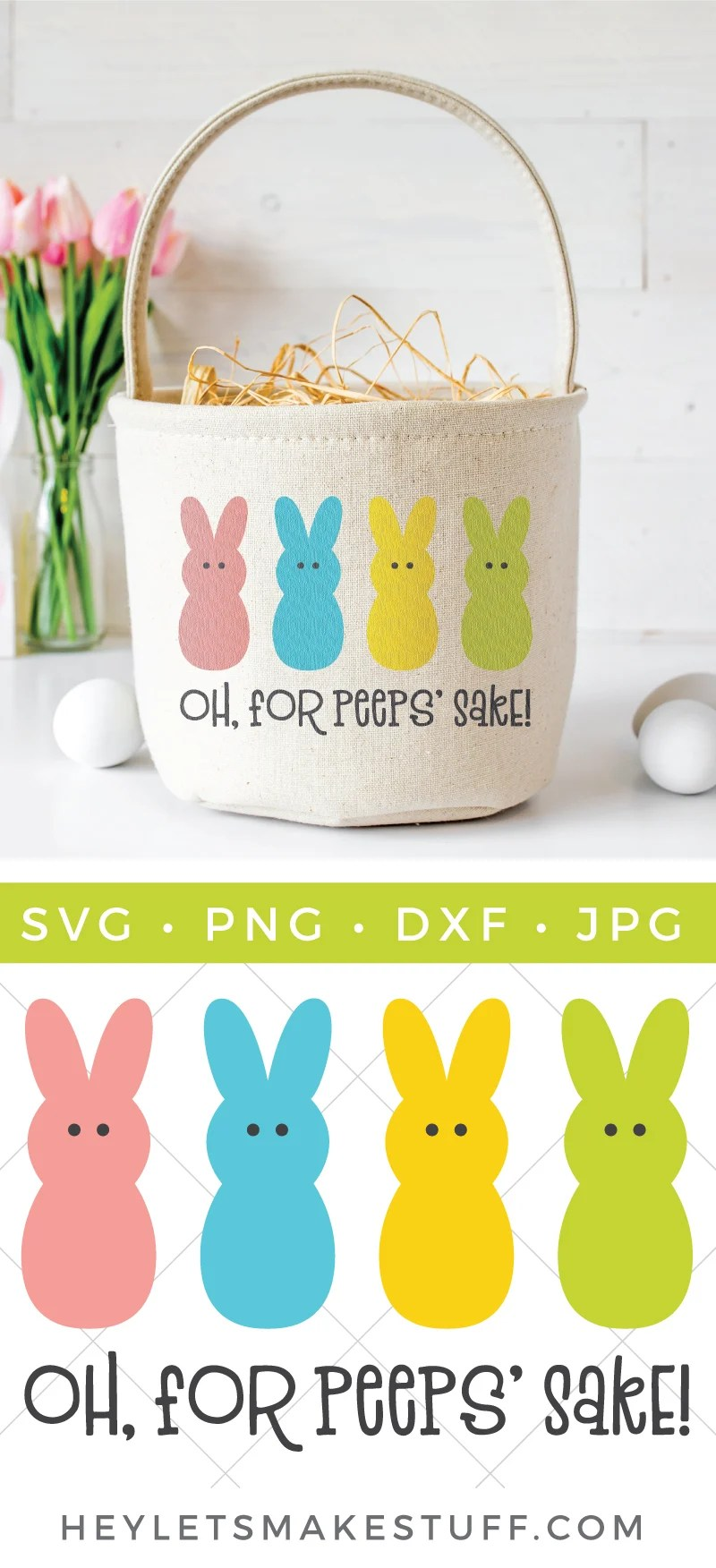"Can't wait to get your hands on some marshmallow Peeps for Easter? This ""Oh, For Peeps' Sake!"" SVG is perfect for funny Easter shirts, baskets, pillows, and more! Get this FREE cut file, plus 15 other free Easter-themed SVG files. via @heyletsmakestuf"