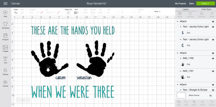 Design Space - Adding text to handprint craft
