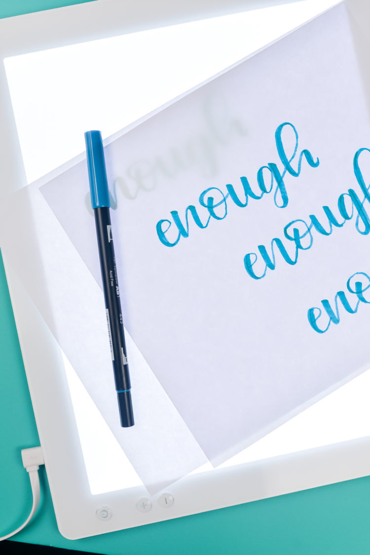 The Cricut Brightpad is not just for weeding vinyl! I use mine all the time to practice my hand lettering—all you need are practice sheets, blank paper, and a pen!