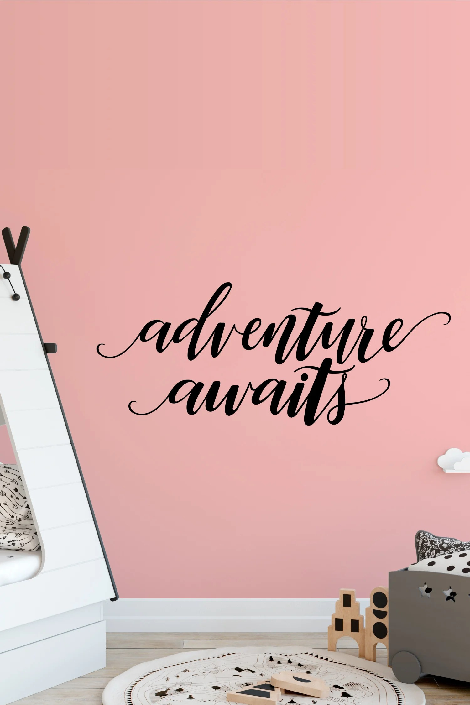 The world is full of possibilities. Inspire and encourage a spirit of excitement and exploration in your little one with this Hand-Lettered Adventure Awaits SVG! Perfect for a nursery, playroom and so much more!
