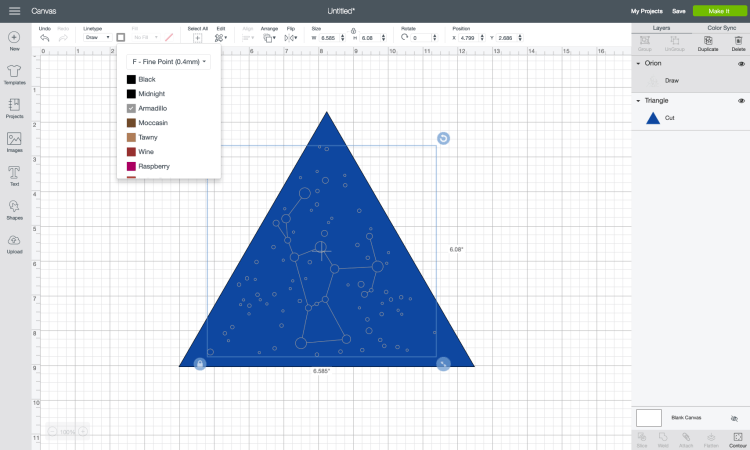 Then center the triangle and the constellation shape. You can also change the colors using the color dropdown in the Edit Toolbar.