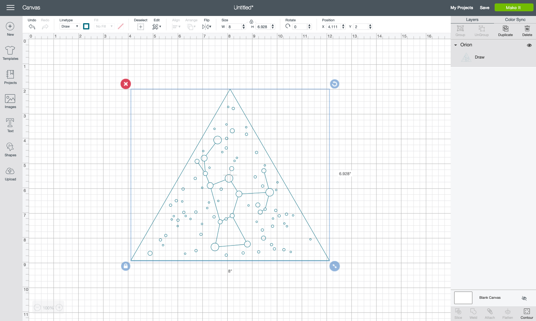 Using the Size adjusted in the Edit Toolbar at the top, change the size of your constellation to your project size.