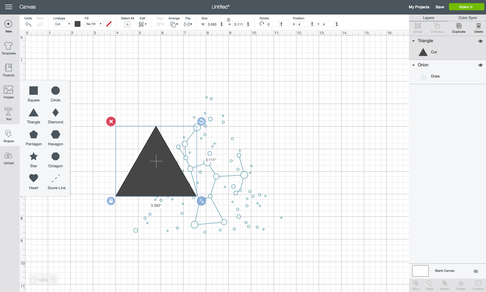 Insert a triangle using the Shapes Tool.