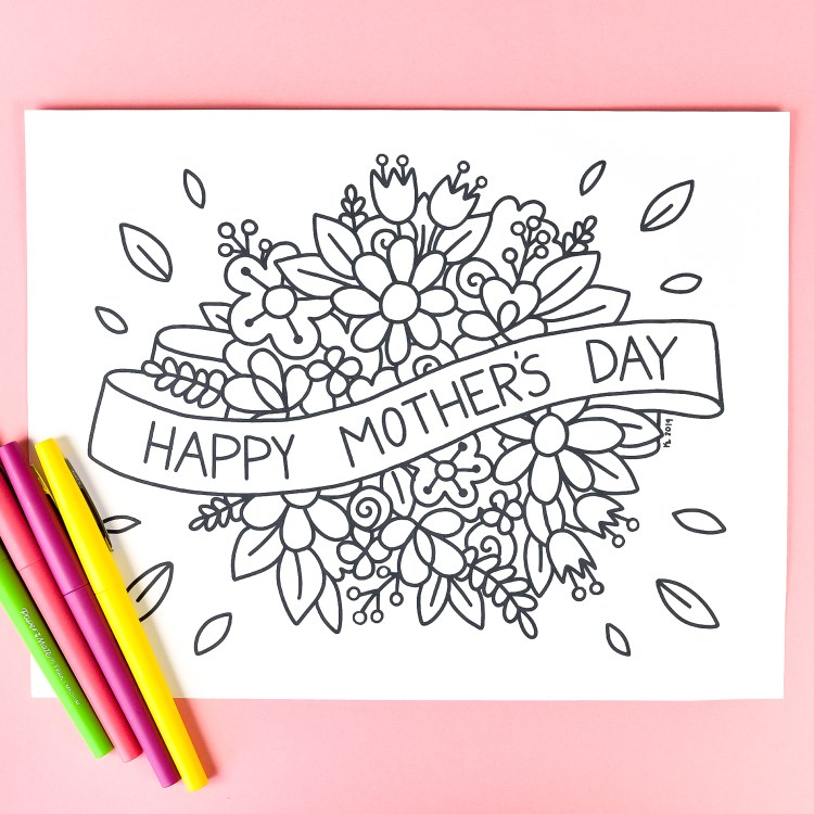 This free printable Mother's Day coloring page is just for Mom! Beautiful flowers are just waiting to be filled in with colorful personality. Print it out for free!
