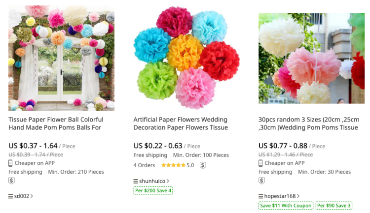 Tissue Paper Flowers from DHGate