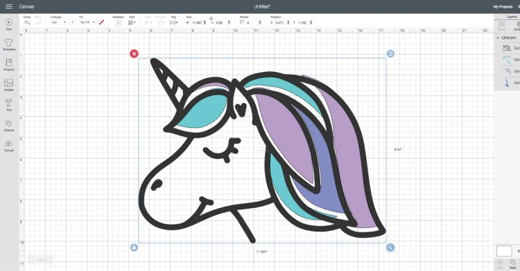 Screenshot of unicorn in Design Space.