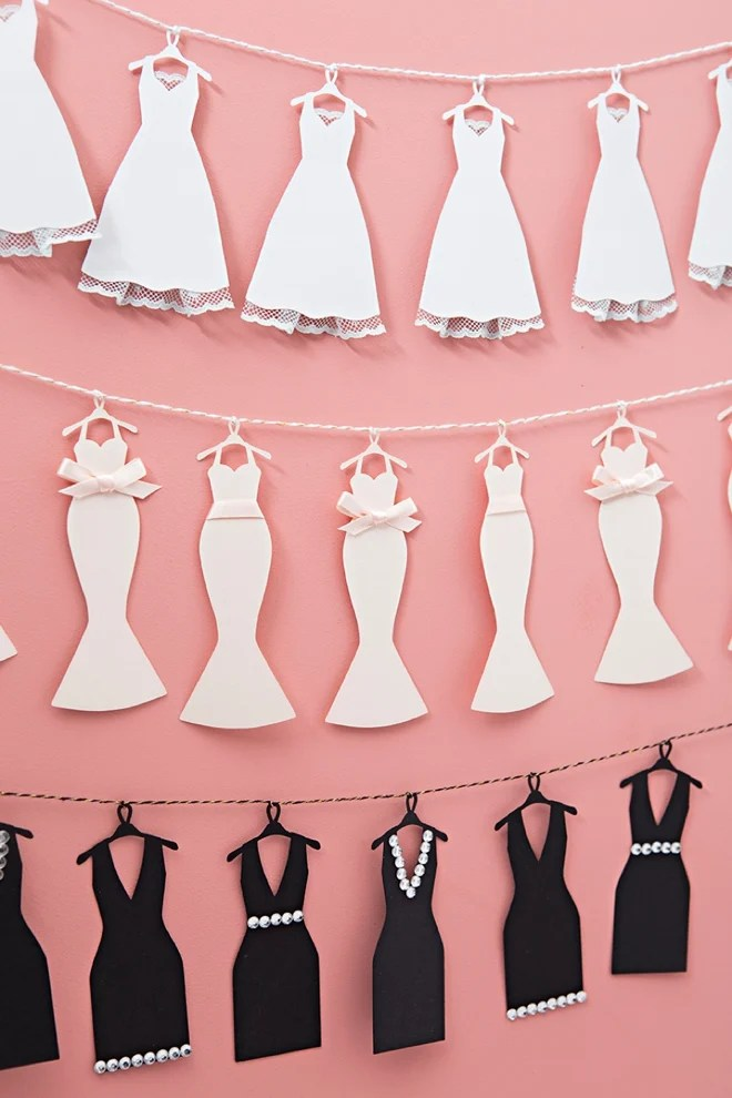 Oh my! How perfect is this Mini-Wedding Dress Bunting from somethingturquoise.com!! Quickly and easily cut out as much as you need with your Cricut.