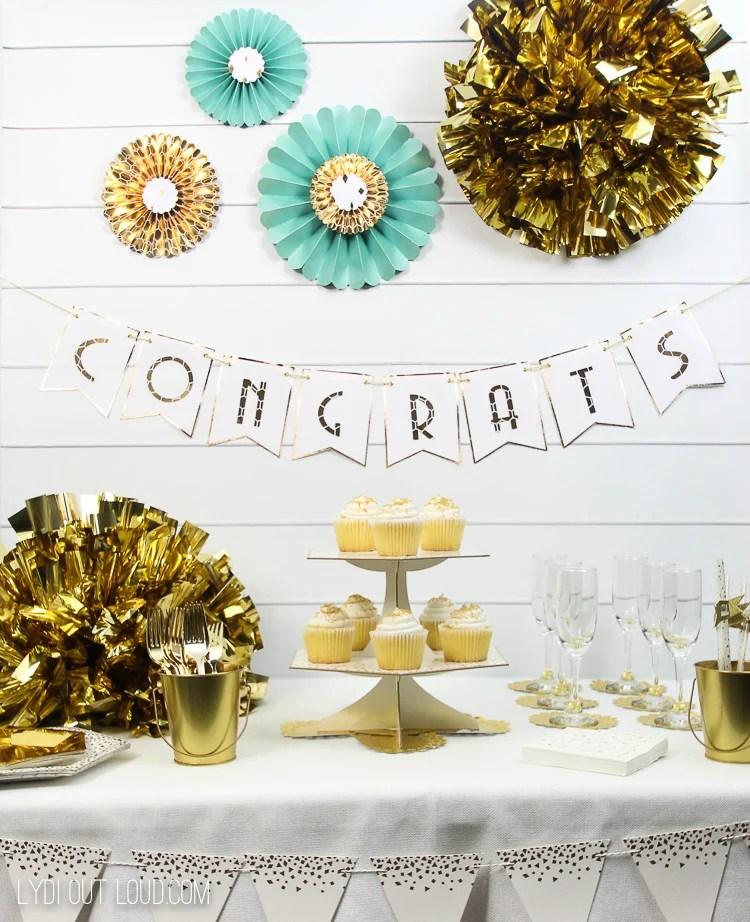 If bling is your thing then grab your Cricut and these great Glam Gold Engagement Party Decoration ideas from lydioutloud.com and create a golden bridal shower.