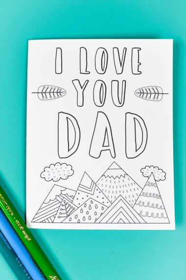 """These printable Father's Day card and gift tags are designed to be colored (plus get a bonus coloring sheet!)! They are nature-themed—awesome if dad doesn't like tools, golf, barbecuing, or other """"typical"""" dad things!"""