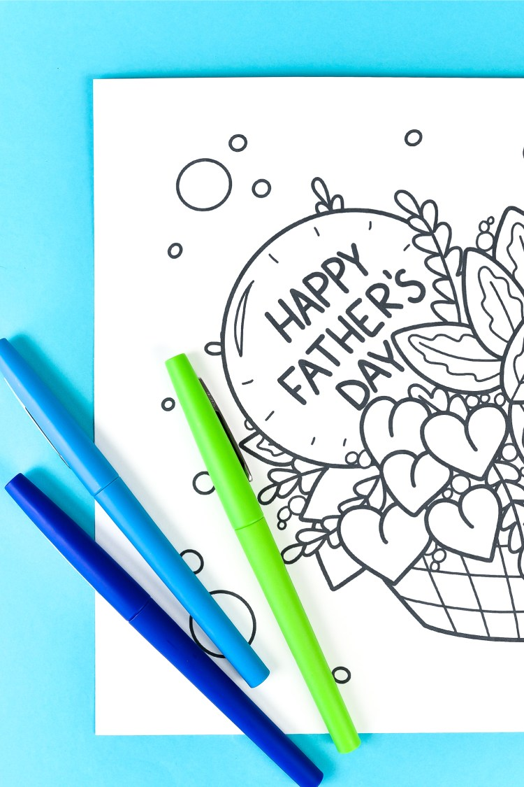 This free printable Father's Day coloring page is the perfect reason to spend some quality time with dad! Print it out for free, grab dad's favorite colors and bring the page to life!