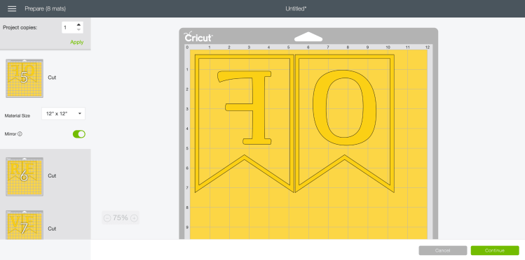 Screenshot of Cricut Design Space's prepare screen with layers mirrored.